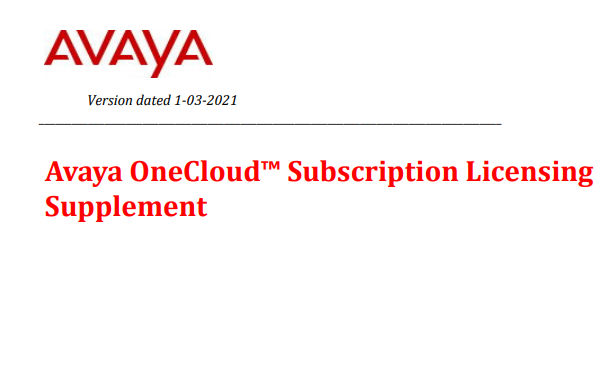 Avaya OneCloud Subscription Licensing