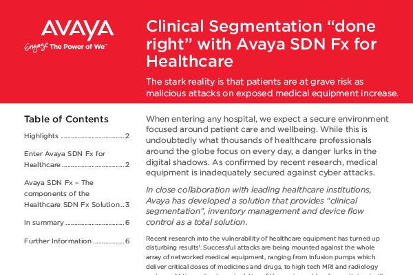 "Clinical Segmentation ""done right"" with Avaya SDN Fx for Healthcare"