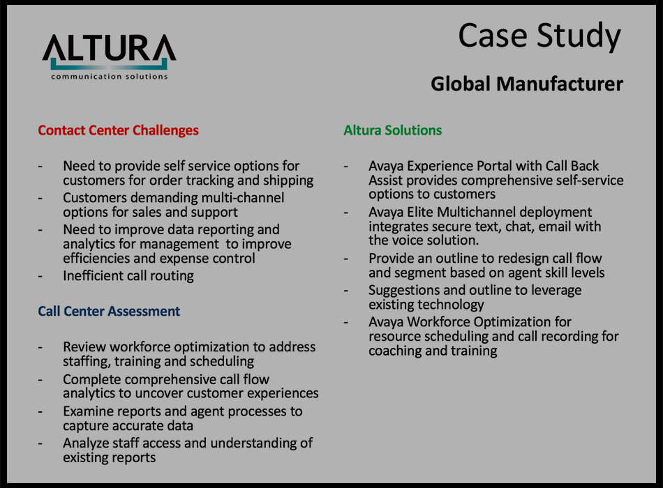 Global Manufacturer Case Study