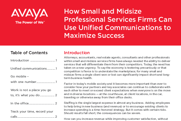 How Small and Midsize Professional Services Firms Can Use Unified Communications to Maximize Success
