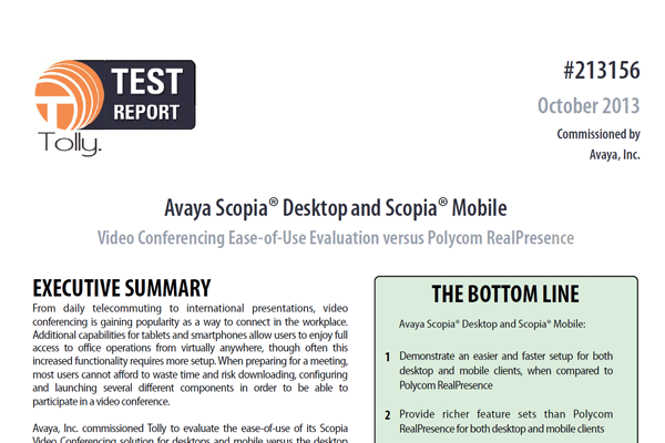 Test Report: Avaya Scopia Desktop and Scopia Mobile