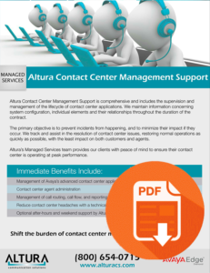Altura Contact Center Management Support