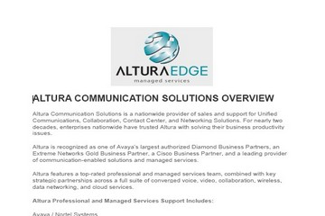 Altura Communication Solutions Services Overview